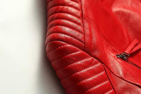 Image of New Biker Genuine Short Slim Leather Jackets close up of shoulder from Almas Collections