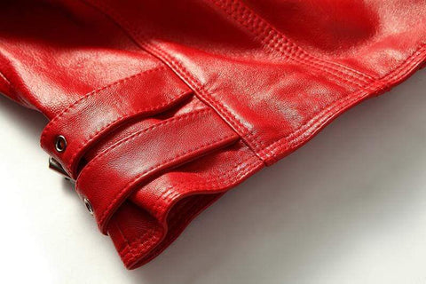 Image of New Biker Genuine Short Slim Leather Jackets close up from Almas Collections