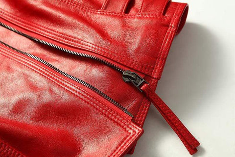 Image of New Biker Genuine Short Slim Leather Jackets with zipper feature from Almas Collections