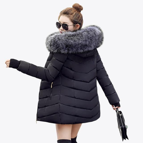 New Almas Long Hooded Parkas black Winter Jacket back view with Gray hood Almas Collections