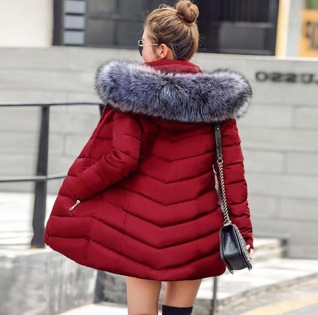 New Almas Long Hooded Parkas Red Winter Jacket back view with gray hood Almas Collections