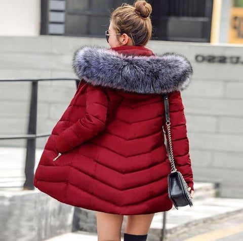 Image of New Almas Long Hooded Parkas Red Winter Jacket back view with gray hood Almas Collections