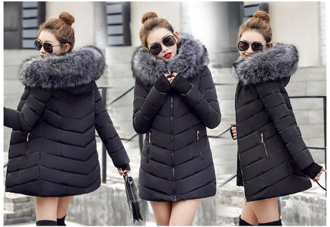 New Almas Long Hooded Parkas black Winter Jacket Multi view with Gray hood Almas Collections