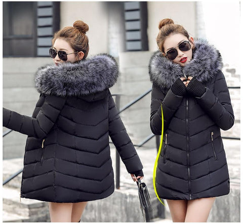 Image of New Almas Long Hooded Parkas black Winter Jacket Front and back view with Gray hood Almas Collections