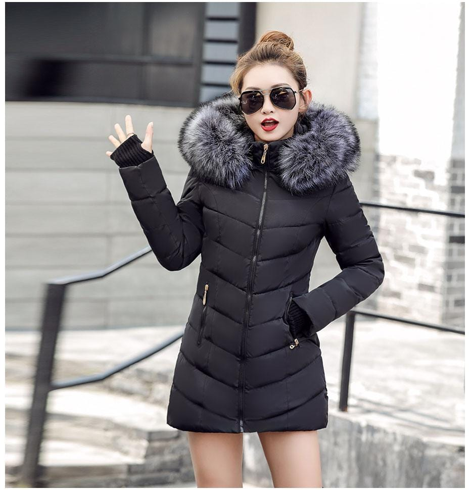 New Almas Long Hooded Parkas black Winter Jacket Front view with Gray hood Almas Collections