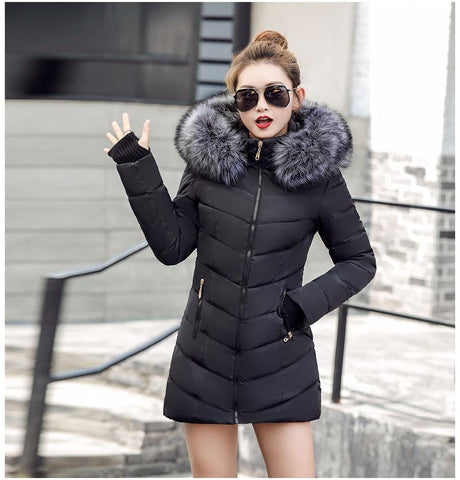 Image of New Almas Long Hooded Parkas black Winter Jacket Front view with Gray hood Almas Collections