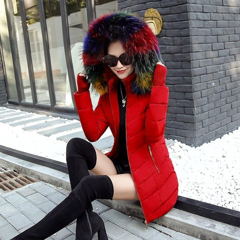 New Almas Long Hooded Parkas Red Winter Jacket front view with rainbow stripe hood Almas Collections