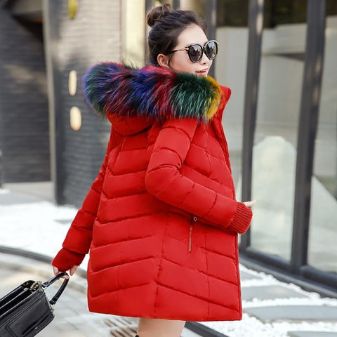 New Almas Long Hooded Parkas Winter Jacket side view with rainbow stripe hood Almas Collections
