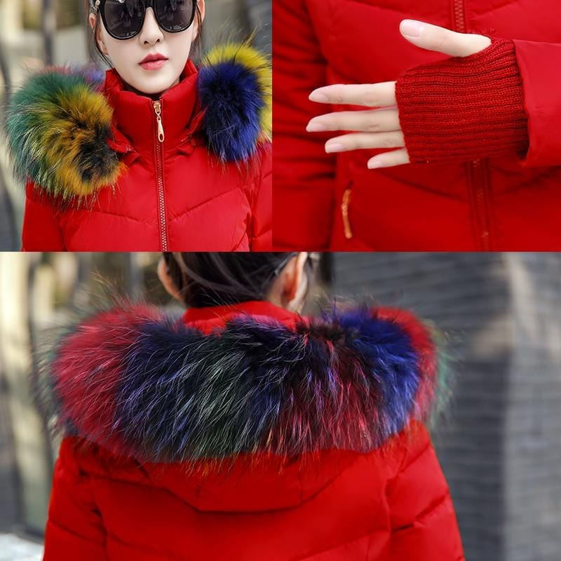 New Almas Long Hooded Parkas Red Winter Jacket closeup view with rainbow stripe hood Almas Collections
