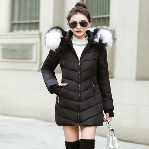 New Almas Long Hooded Parkas black Winter Jacket front view with black white stripe hood Almas Collections