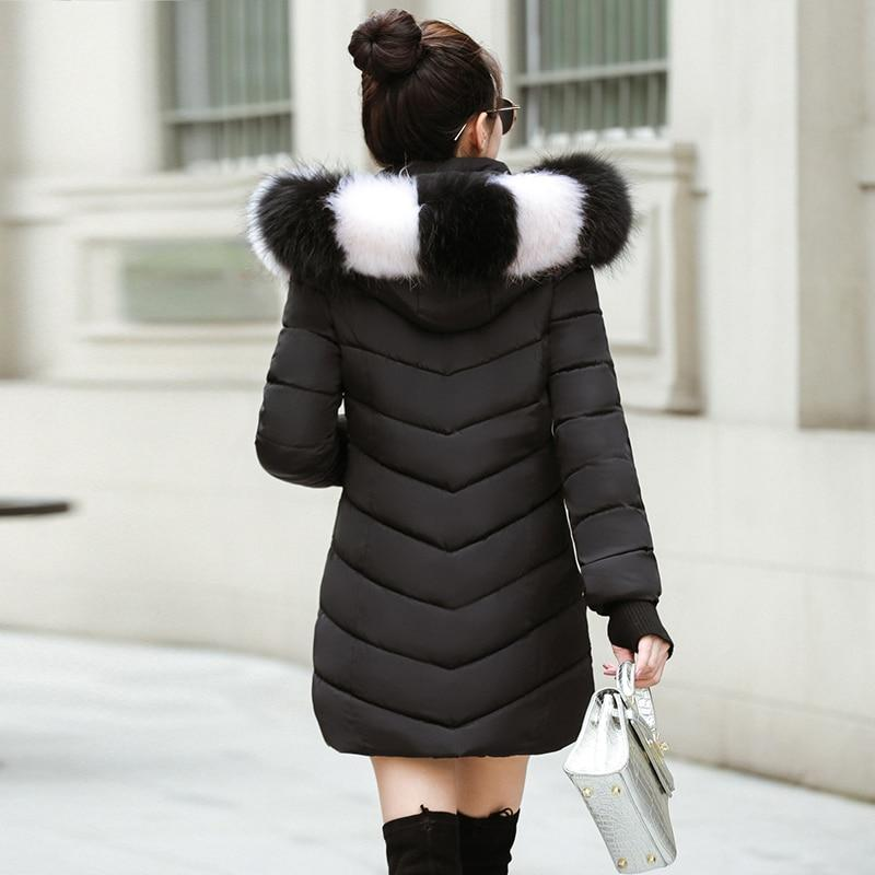 New Almas Long Hooded Parkas black Winter Jacket back view with black white stripe hood Almas Collections