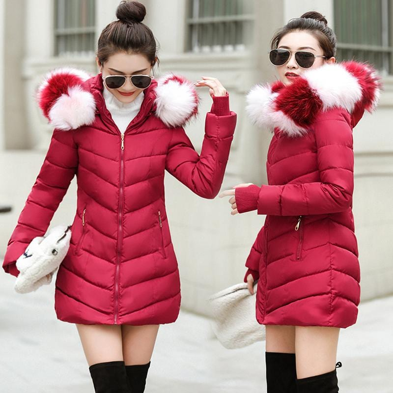 New Almas Long Hooded Parkas Winter Jacket front and side view with red white stripe hood Almas Collections