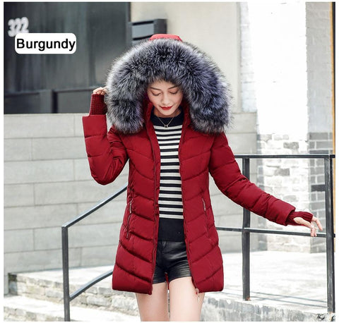 Image of New Almas Long Hooded Parkas Red Winter Jacket front view with gray hood Almas Collections