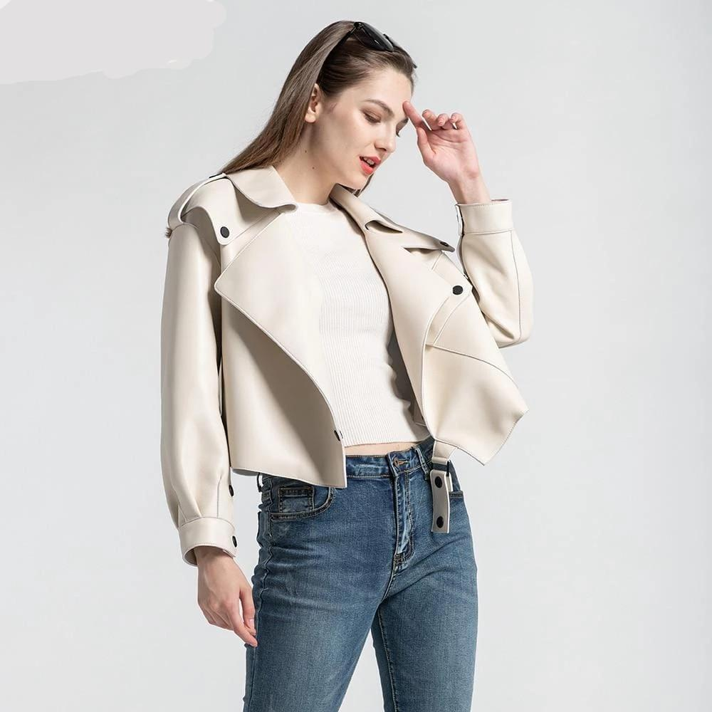 New Genuine Women Leather Jacket in White worn by model from Almas Collections
