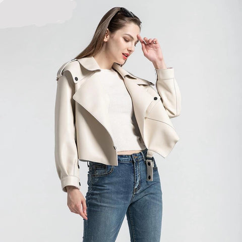 Image of New Genuine Women Leather Jacket in White worn by model from Almas Collections