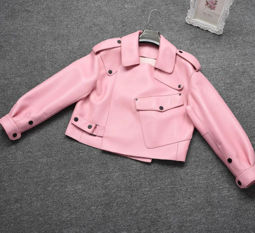 New Genuine Women Leather Jacket Pink from Almas Collections