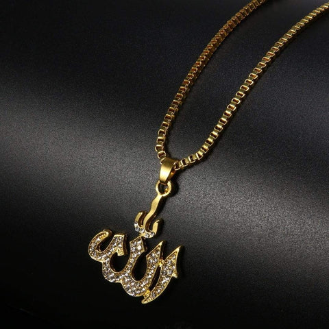 Crystal Allah Bling Long Chain Necklace in gold colour from Almas Collections
