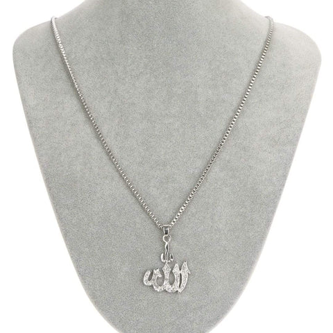 Crystal Allah Bling Long Chain Necklace in silver colour