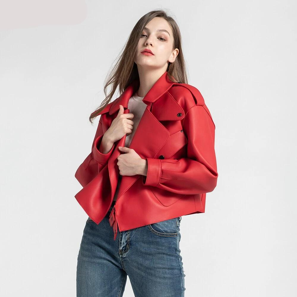 New Genuine Women Leather Jacket in Red worn by model from Almas Collections