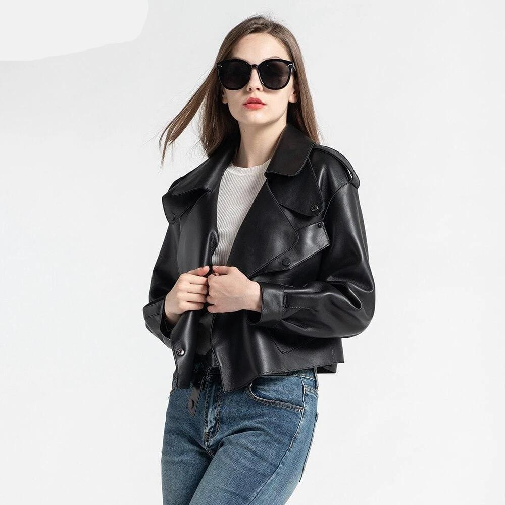 New Genuine Women Leather Jacket in Black worn by model from Almas Collections