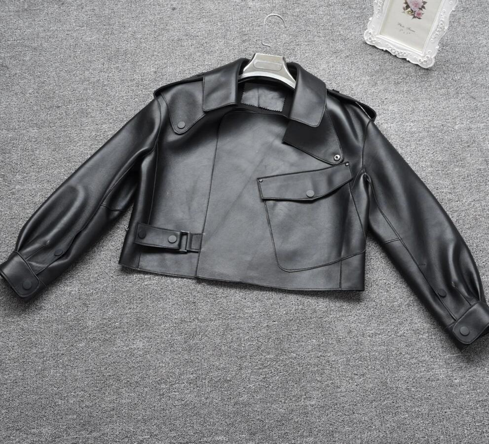 New Genuine Women Leather Jacket in black from Almas Collections