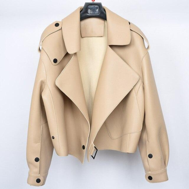 New Genuine Women Leather Jacket in Beige from Almas Collections