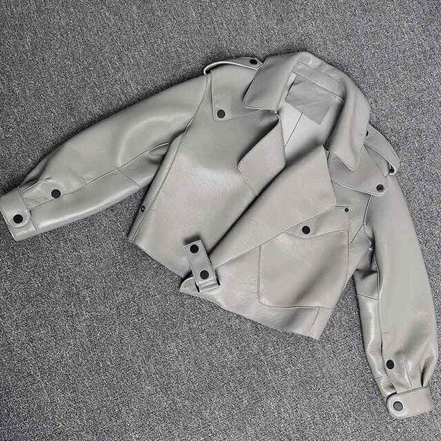 New Genuine Women Leather Jacket Light Grey from Almas Collections