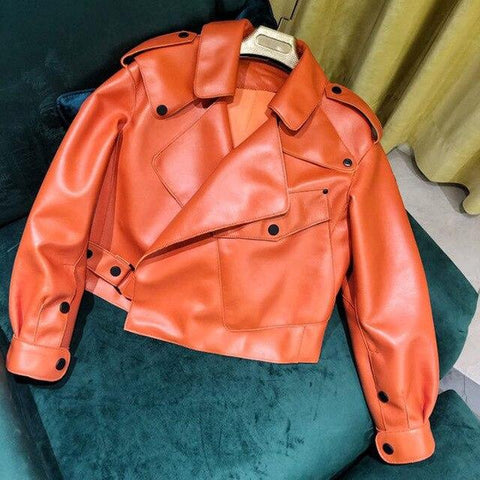 Image of New Genuine Women Leather Jacket in Orange from Almas Collections