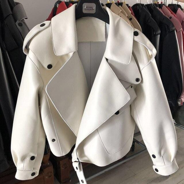 New Genuine Women Leather Jacket in white from Almas Collections