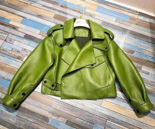New Genuine Women Leather Jacket in Green from Almas Collections