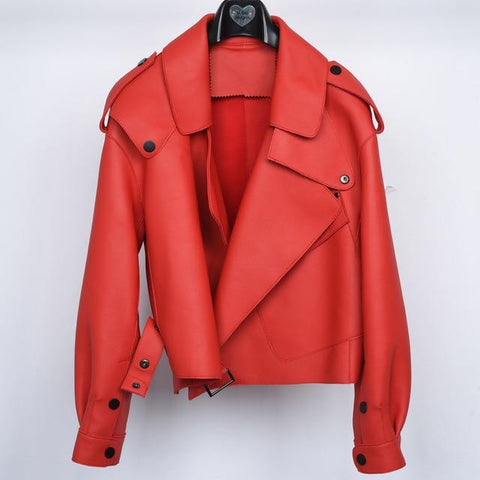 Image of New Genuine Women Leather Jacket in Red from Almas Collections