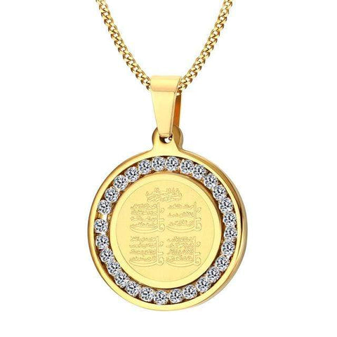 4 Qul Pendant Necklace Gift Hajj Umrah in Gold Color from Almas Collections