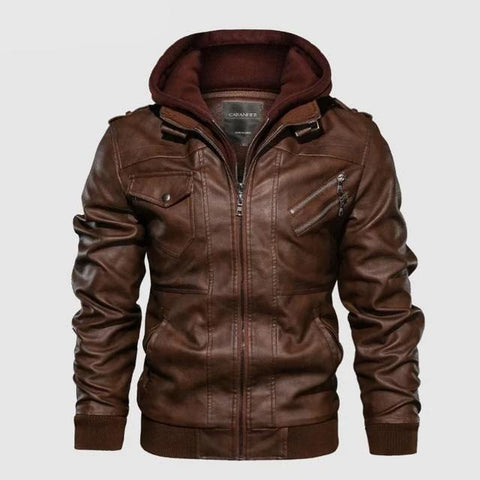 Image of Vintage Biker Hooded Leather Jacket Brown color by Almas Collections