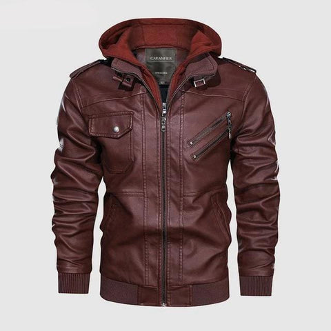 Image of Vintage Biker Hooded Leather Jacket Red Wine color by Almas Collections
