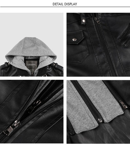 Image of Vintage Biker Hooded Leather Jacket Black color Close up by Almas Collections