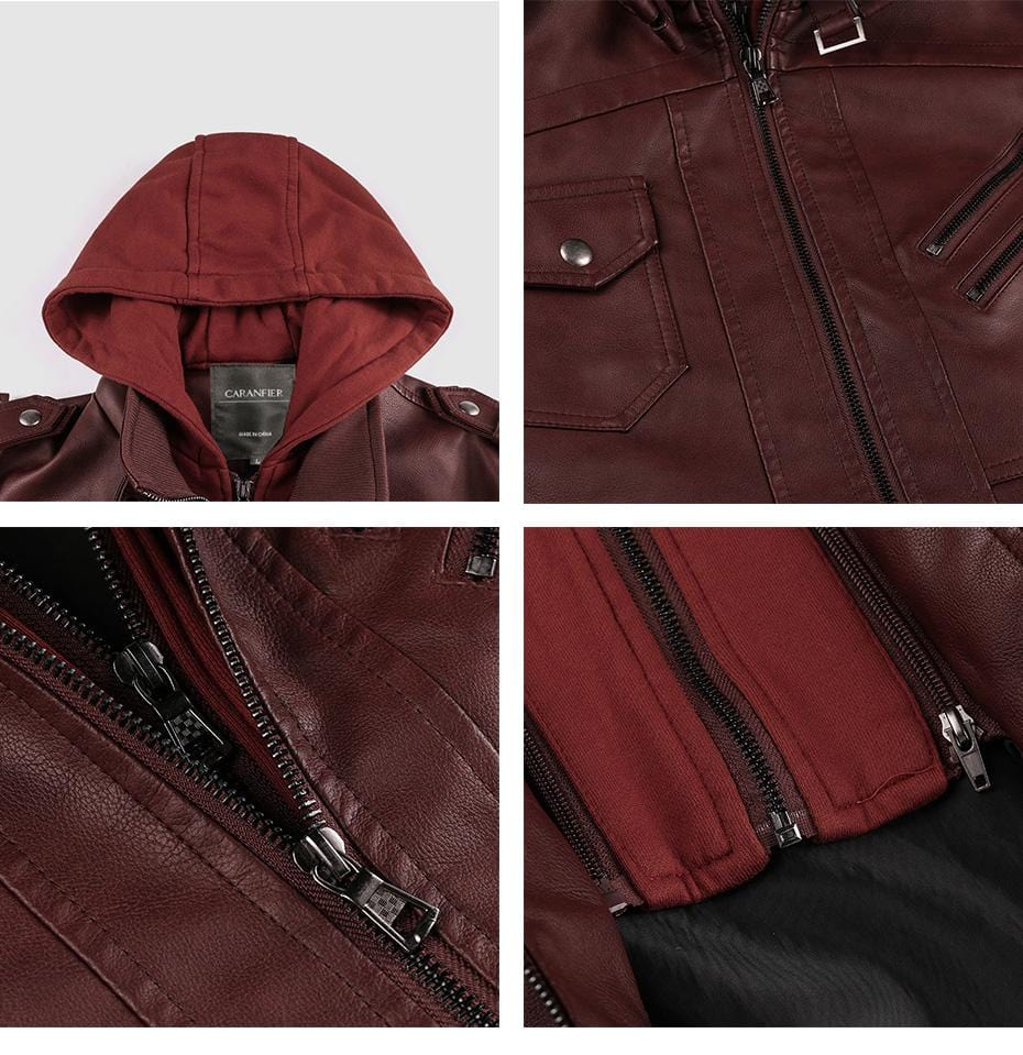 Vintage Biker Hooded Leather Jacket Red Wine color close up by Almas Collections