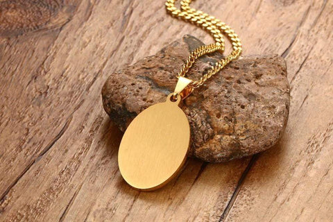 4 QUL and Allah Rhinestone Stainless Steel Gold Tone Oval Necklace Pendant from Almas Collections