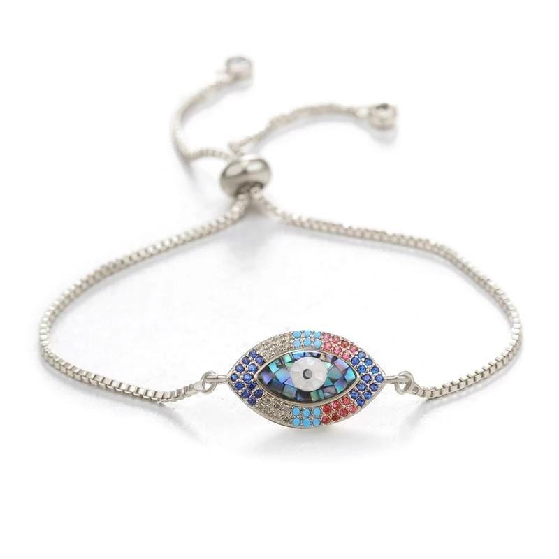 Turkish Evil Eye Charm Bracelets in silver color from Almas Collections