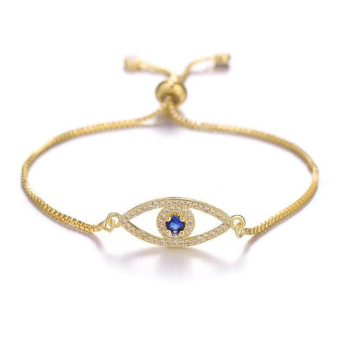 Image of Turkish Evil Eye Charm Bracelets in gold color from Almas Collections