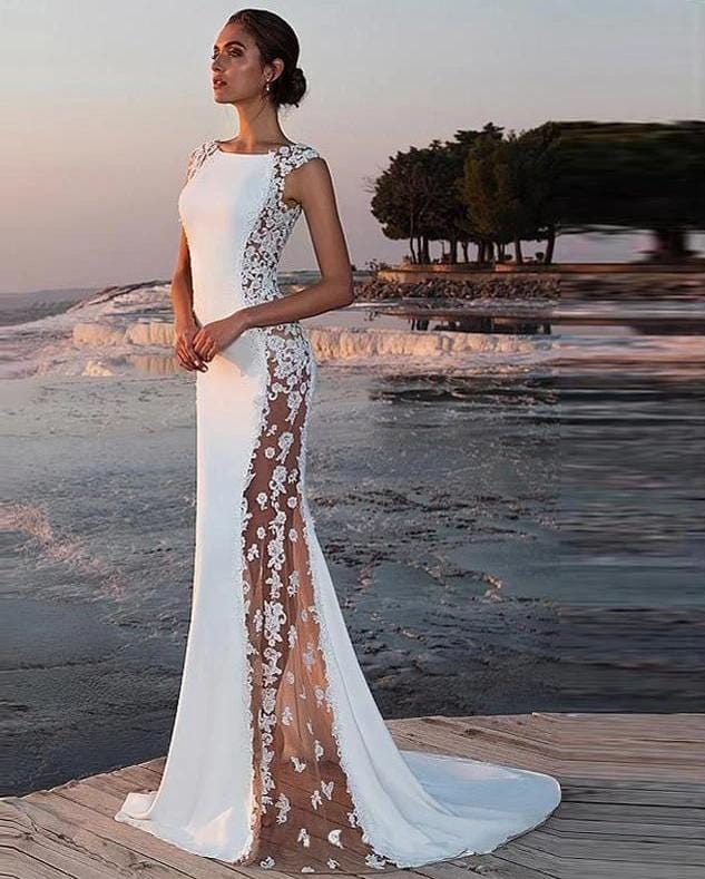 New Satin Lace Mermaid Style Wedding Dress from Almas Collections