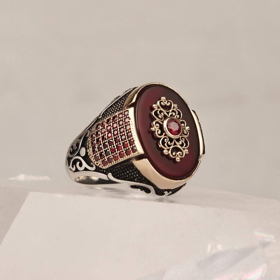 Turkish 925 Silver Red Agate Aqeeq Zircon Stone Ring from Almas Collections