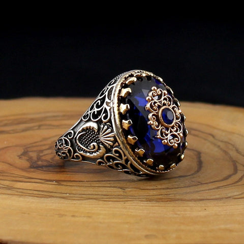 Image of Turkish 925 Silver Ring with Blue Zircon Stone from Almas Collections
