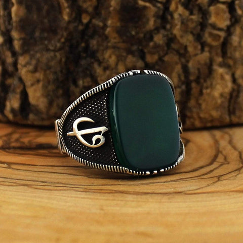 Image of 925 Silver Green Aqeeq (Agate) Stone from Almas Collections