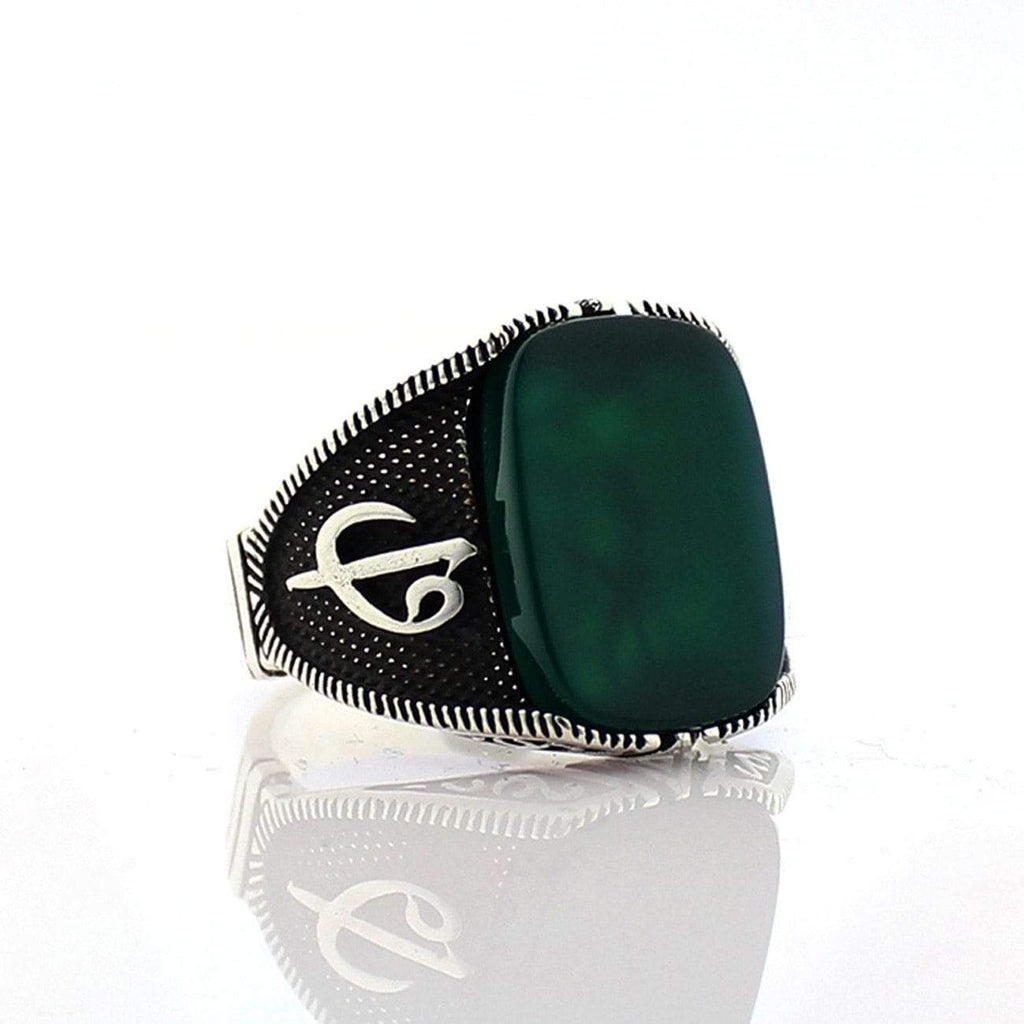 925 Silver Green Aqeeq (Agate) Stone from Almas Collections