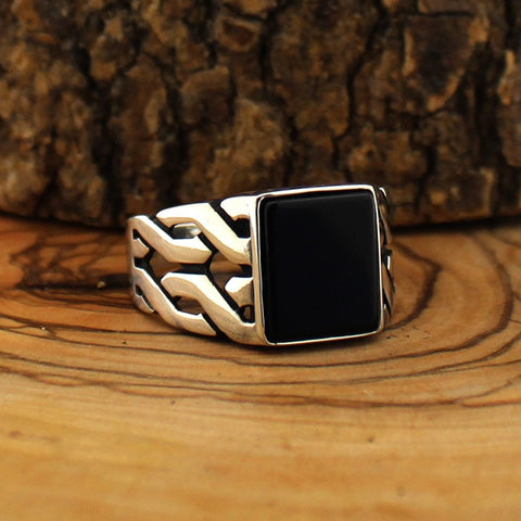 New Turkish 925 Silver with Black Onyx Stone Ring IS1 IS2 NS3