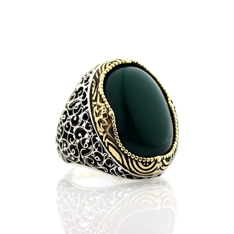 Turkish 925 Silver Ring with Green Aqeeq (Agate) Stone