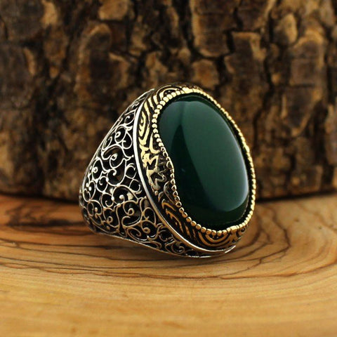 Turkish 925 Silver Ring with Green Aqeeq (Agate) Stone from Almas Collections