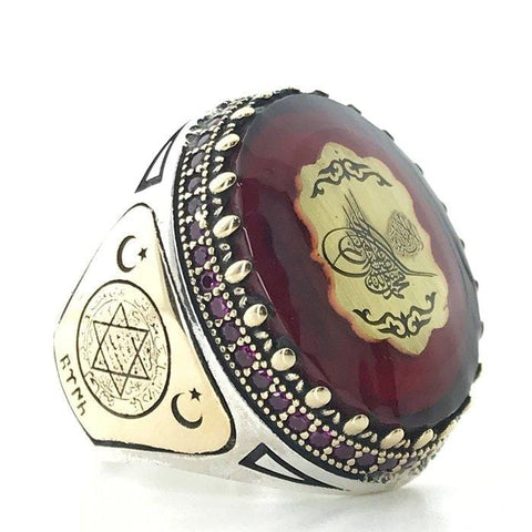 Turkish 925 Silver Ring Amber Aqeeq (Agate) Stone