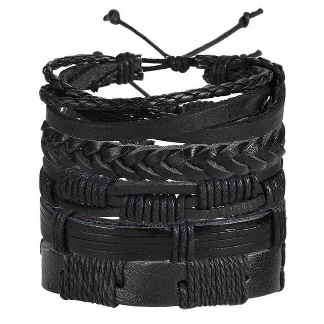 black leather boho bracelets