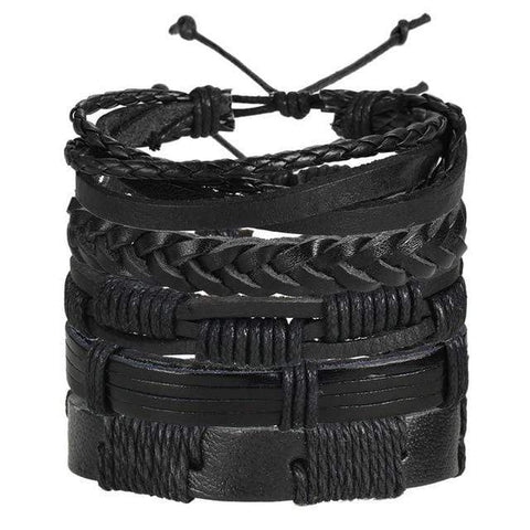 Image of black leather boho bracelets